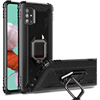 Samsung Galaxy A51 Case, RMCase Military Grade Drop Impact Rugged Soft Silicone Cover with Airbag Design 360 Rotate Metal Ring Built-in Car Mount for Samsung Galaxy A51 (Black)
