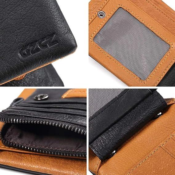 c9f79eb5f GAOQQ Cartera para Hombres - Diseño De Cuero Tarjeta De Crédito/Bolsillo  para Monedas (Negro),Black-B: Amazon.es: Jardín