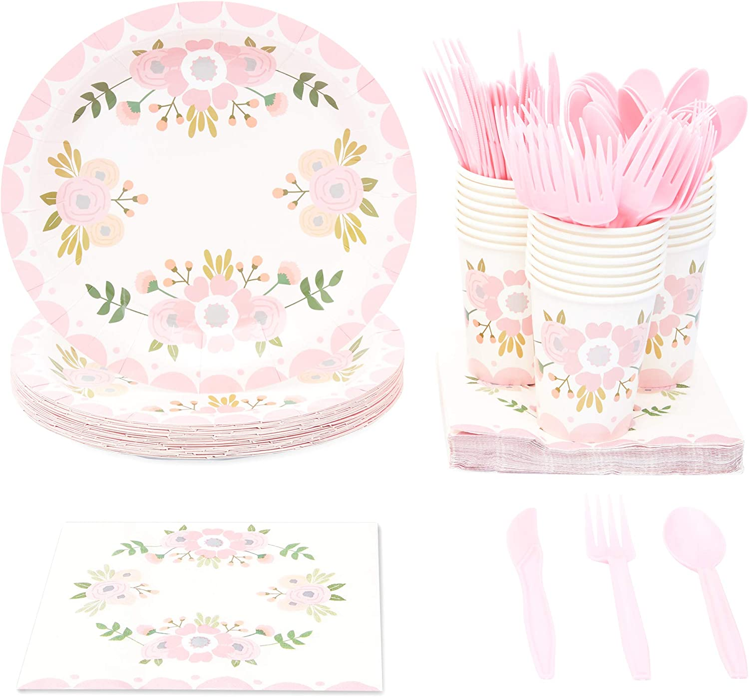 Pink Floral Party Supplies, Paper Plates, Napkins, Cups and Plastic Cutlery (Serves 24, 144 Pieces)
