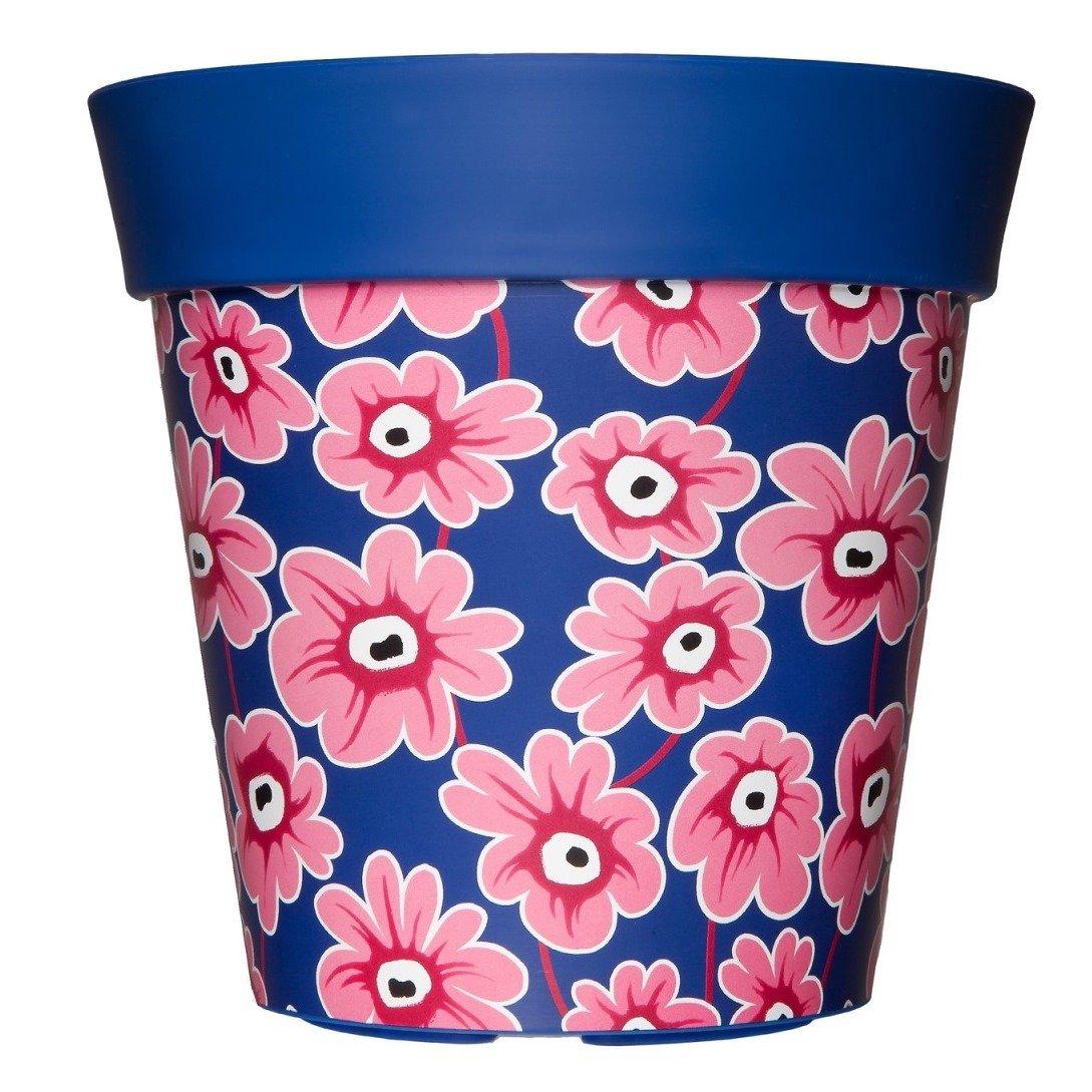 Hum Flowerpots Bluepink Floral Plant Pot Indooroutdoor Planter
