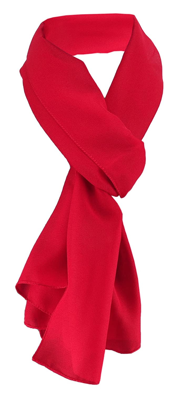 Schal TigerTie Damen Chiffon Halstuch rot verkehrsrot Uni Gr 160 cm x 36 cm