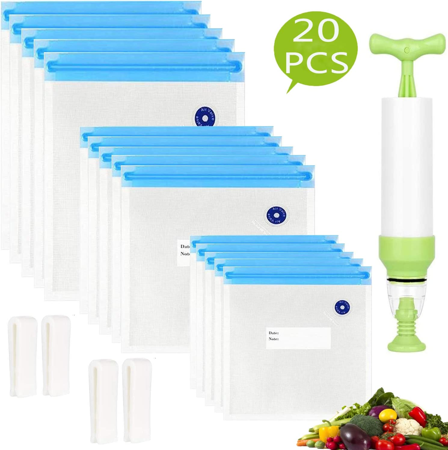 Sous Vide Bags 20pack Reusable Vacuum Food Storage Bags with 3 Sizes Vacuum Food Bags,1 Hand Pump,4 Sealing Clips for Food Storage and Sous Vide Cooking