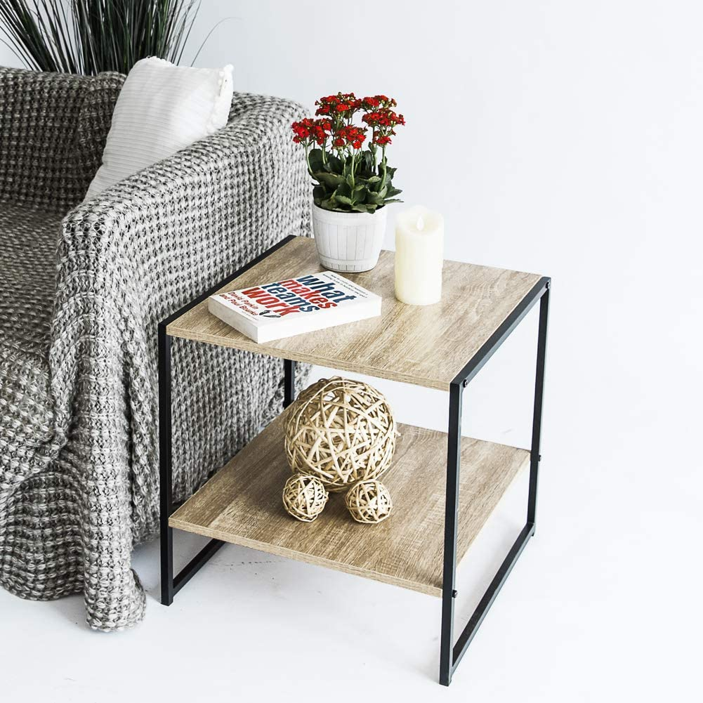 Industrial Black Metal Frame C-Hopetree Small Side End Coffee Table