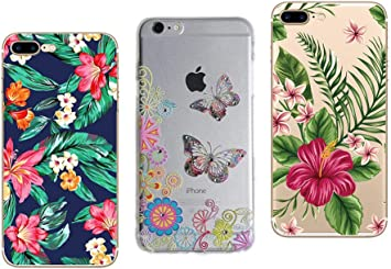 NOVAGO Compatible avec iPhone 7 Plus, iPhone 8 Plus (5, Lot de 3 Coques en Gel Souple Solide Résistant avec Impression Fantaisie (Pack # 7)