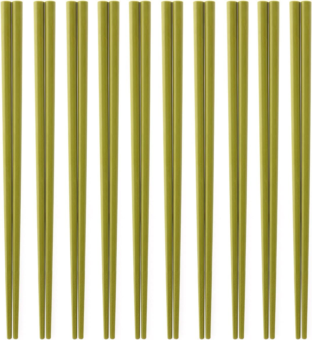 Made in Japan business for 10 Eco chopsticks set meal (powdered green tea color) SPS resin use chopsticks ECO Dishwasher, high temperature and depot support 22.5cm x 3mm angle (chopsticks point) Eco Friendly sps resin Chopsticks (japan import)