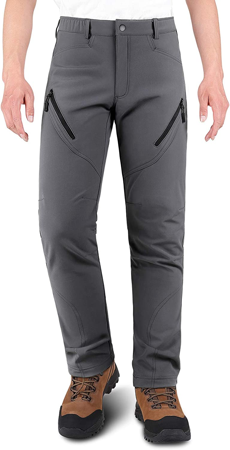 KUTOOK Winter Water Resistant Hiking Pants Thermal Fleece Lined Softshell Cargo Ski Snow Pants with 6 Pockets