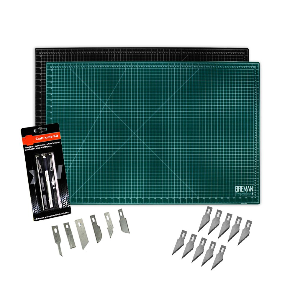 WA Portman Cutting Mat and Craft Knife Set | 12x18-inch Self Healing Cutting Mat | 7-pc Hobby Knife Set with 6 Unique Blades and 10 Extra Blades | The Perfect Cutting Kit for Crafts of All Kinds by W.A. Portman