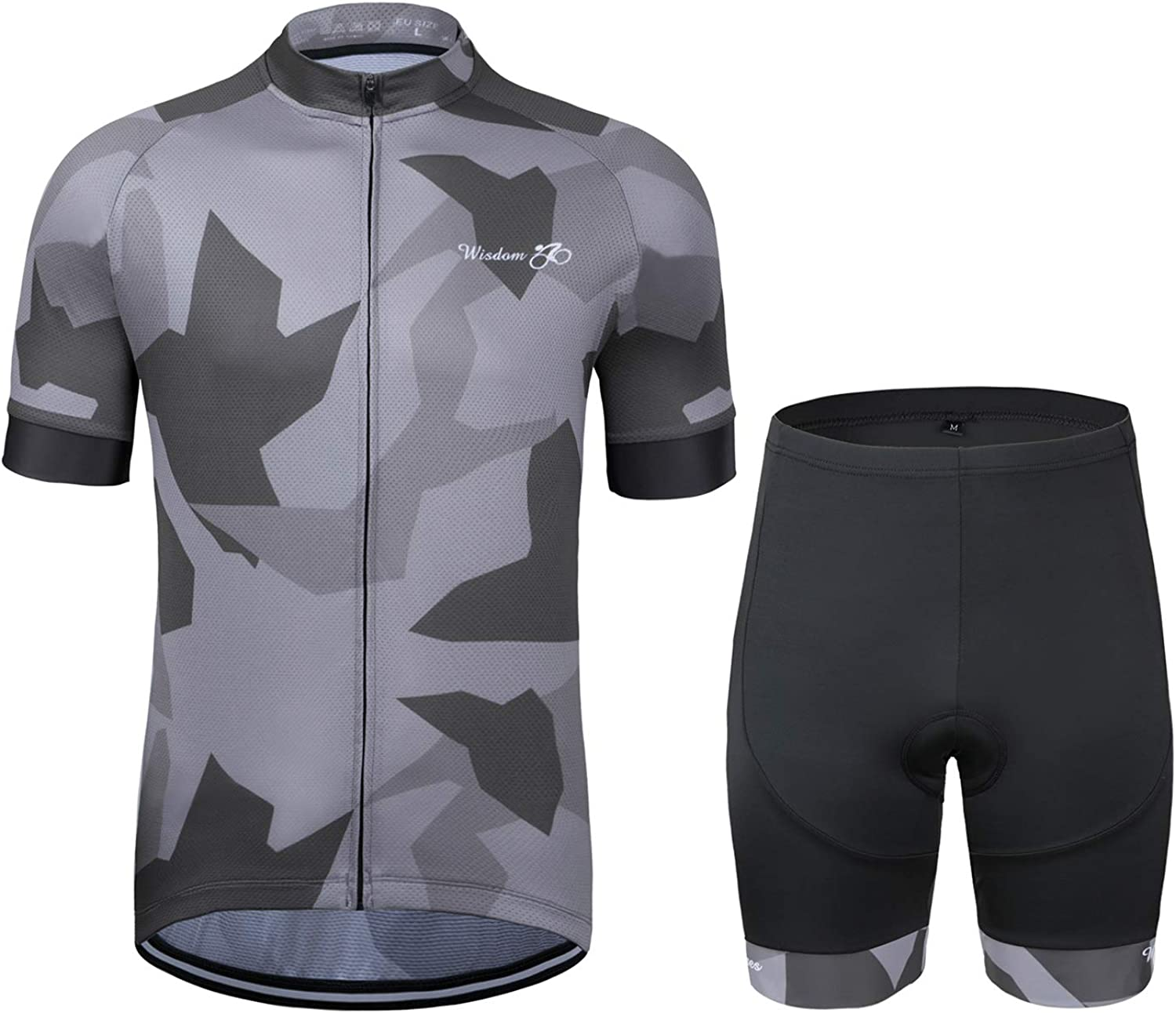Men's Cycling Jersey Set Short Sleeve MTB Jersey Road Bike Clothing Shirts Shorts with 3D Padded Outdoor Riding Sportswear: Clothing