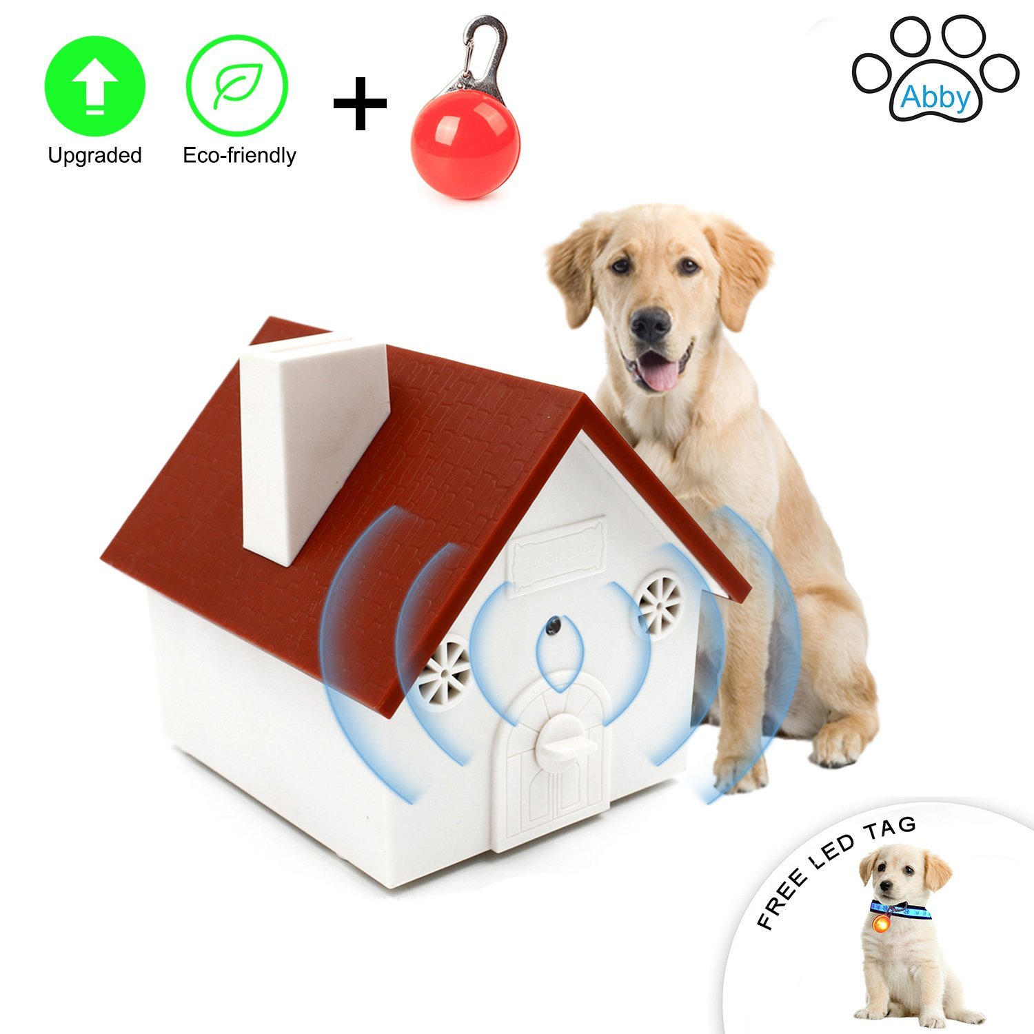 Abby Newest Upgraded Value Pack, Super Ultrasonic Anti Barking Device- Bark Control Deterrents- Training tools- No Harm- Hanging Birdhouse Design Training Dogs, FREE LED CLIP-ON PET SAFETY LIGHT Abby Collections