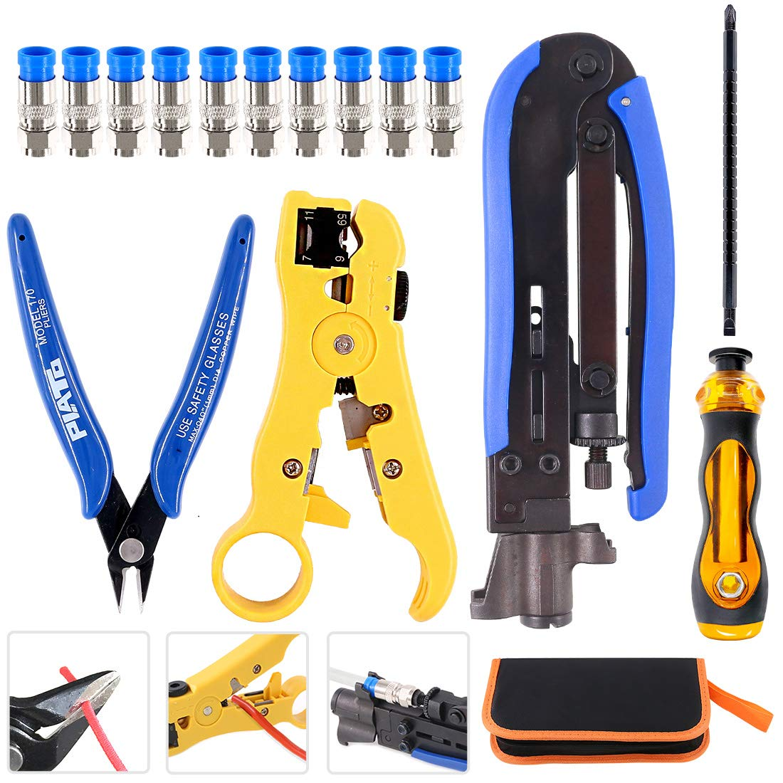 Hilitchi 5 in 1 Coaxial Compression Tool with Instruction Manual Coax Cable Crimper Cable Stripper RG6 RG59 RG11 75-5 75-7 Screwdriver and Micro Cutter with 10 PCS F Compression Connectors Blue RG6 by Hilitchi