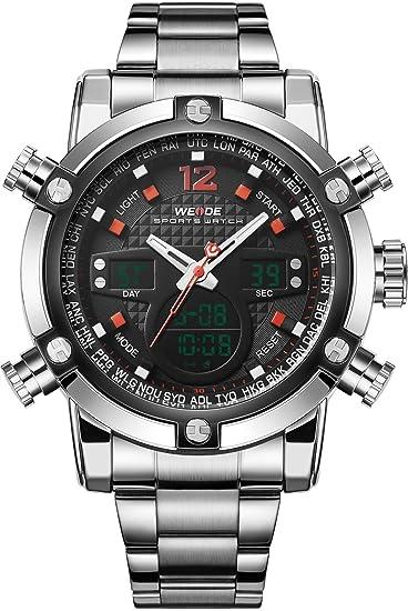 Weide Hombre Deporte Militar analógico digital cuarzo acero inoxidable reloj con Dual Tiempo Auto Fecha (