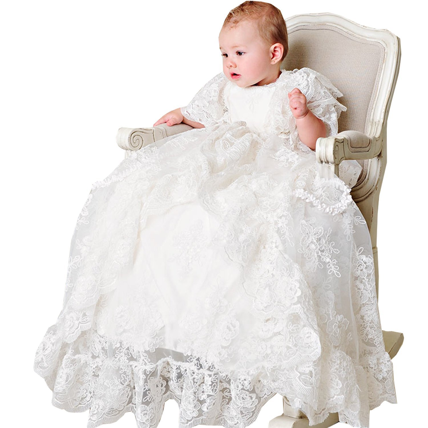Newdeve Short Sleeve White Lace Christening Baptism Dresses Long With Cap (6-9 Months, White)