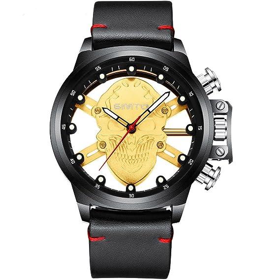 GIMTO Moda Calavera Hombre Relojes Negro Elegante Casual Japón Cuarzo Genuino Cuero Impermeable Hombre Reloj Punk