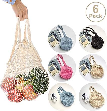 6 Bolsas de Malla Reutilizables Bolsa Rejilla de algodón respetuosas para La Compra organizadora de Playa para Almacenamiento Fruta Verduras Juguetes Lavable: Amazon.es: Hogar