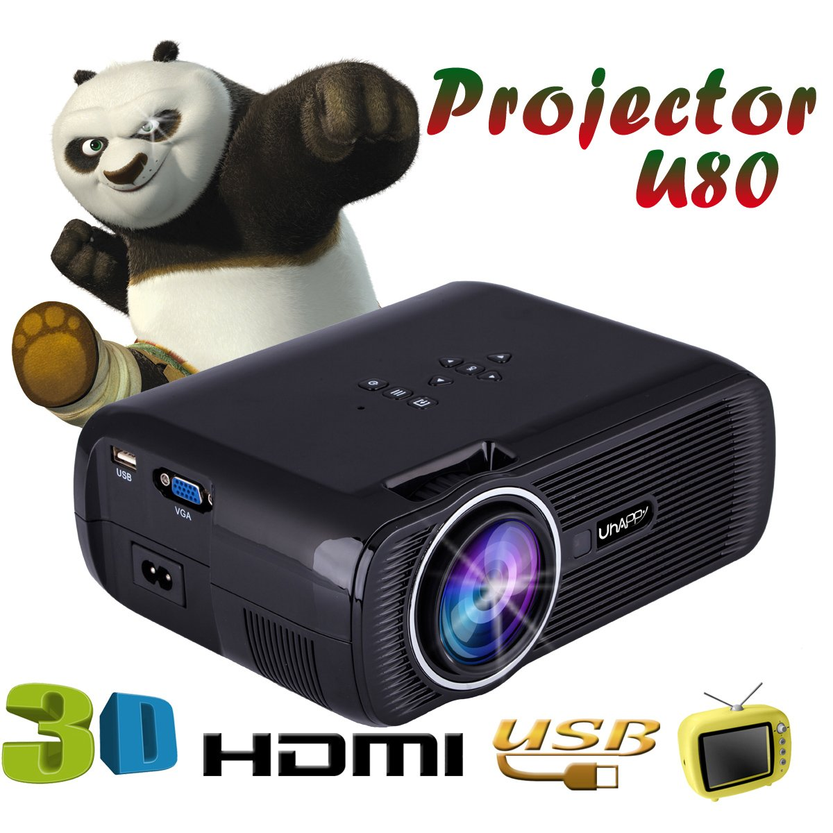 UHAPPY U80 Mini LED HD projector Portable projector (EN) - Black by U Happy (Image #4)