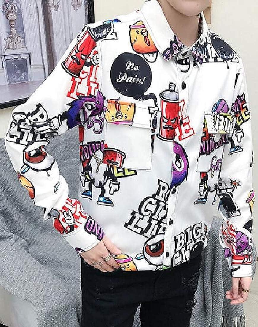 DFBB Mens Lapel Collar Club Long Sleeve Floral Regular Fit Button Down Blouse Shirt
