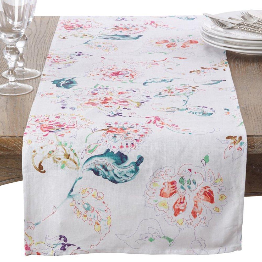 "Fennco Styles Primavera Collection Printed Floral Design 100% Linen Table Runner (White, 16""x72"" Runner)"