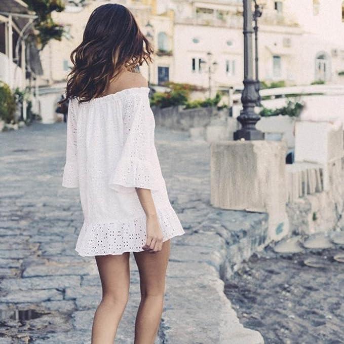 YJYda - Mini vestido de playa para mujer, con cuello de braga y cubierta de bikini, casual , Large, Blanco: Amazon.es: Deportes y aire libre