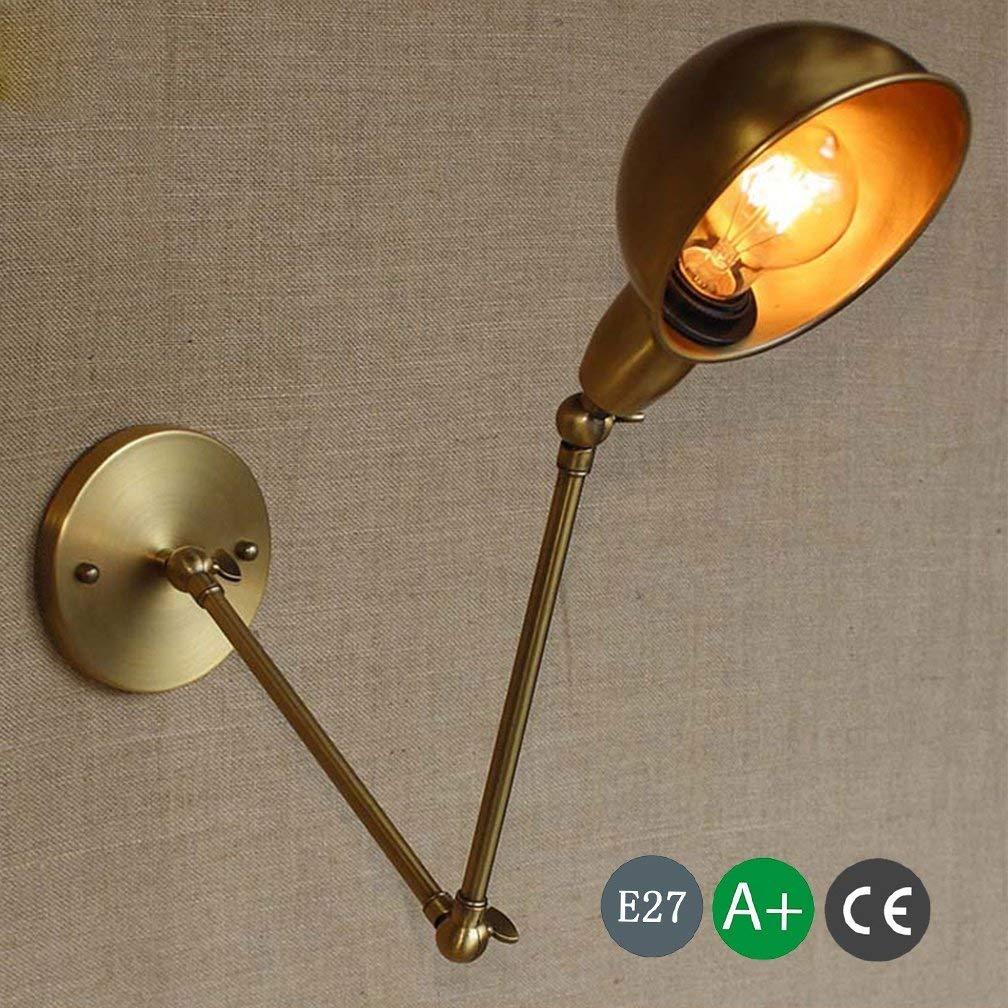 ● E27 Industrielle Vintage Wandleuchte mit verstellbarem Kopf, langemäßrm, verstellbar, Drehen, Eisen-Wandleuchte aus Eisen Edison Design Leuchte Nachttischlampe Innenlampe Schlafzimmerbeleuchtung Mes