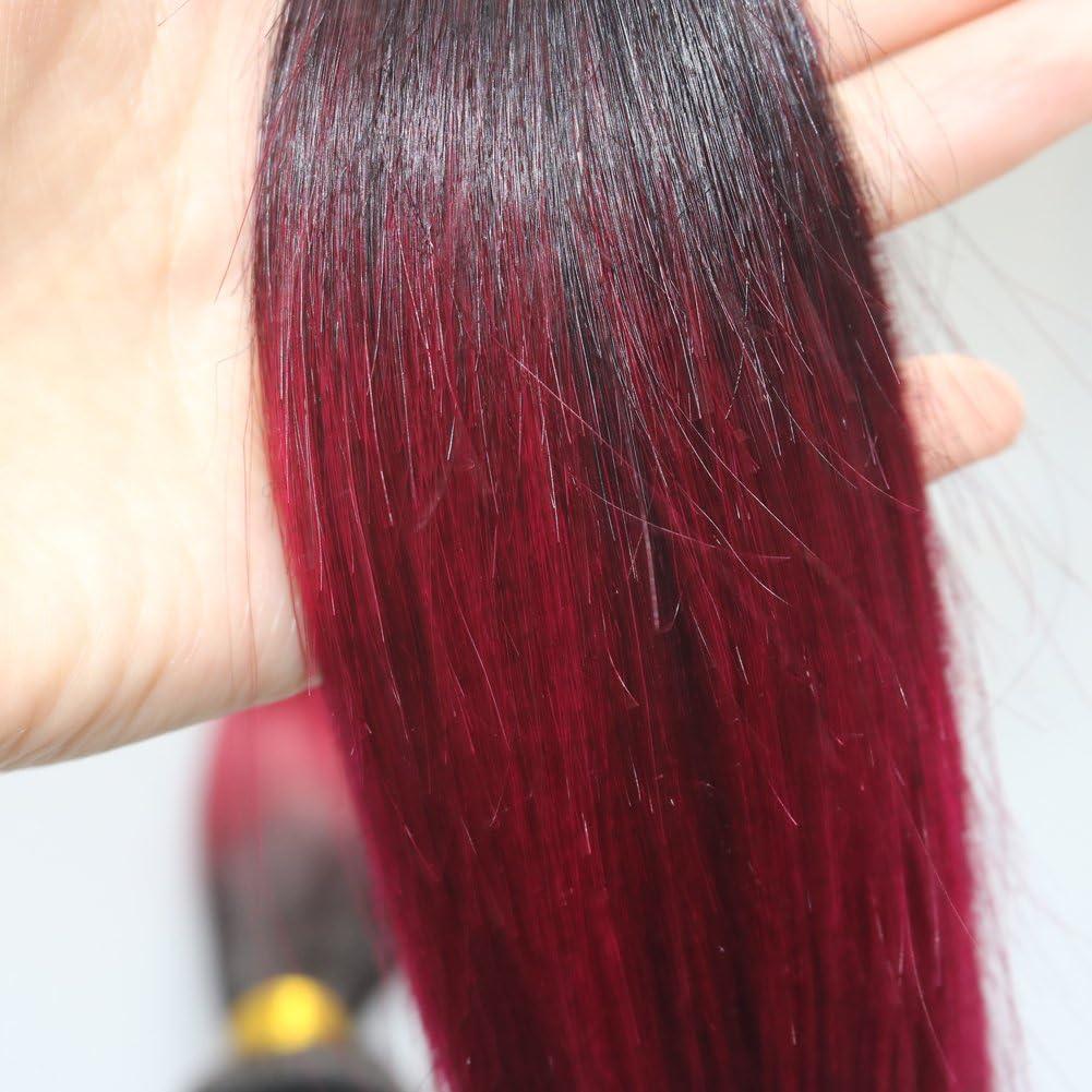 100 G recto Extensiones de pelo Borgoña Ombre color # 1b negro natural para rojo vino conjuntos de pelo 100% humano real pelo trama