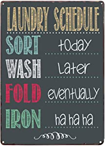 PXIYOU Laundry Schedule Sort Wash Fold Iron Vintage Metal Sign Home Bathroom Wash Room Laundry Signs Country Home Decor 8X12Inch