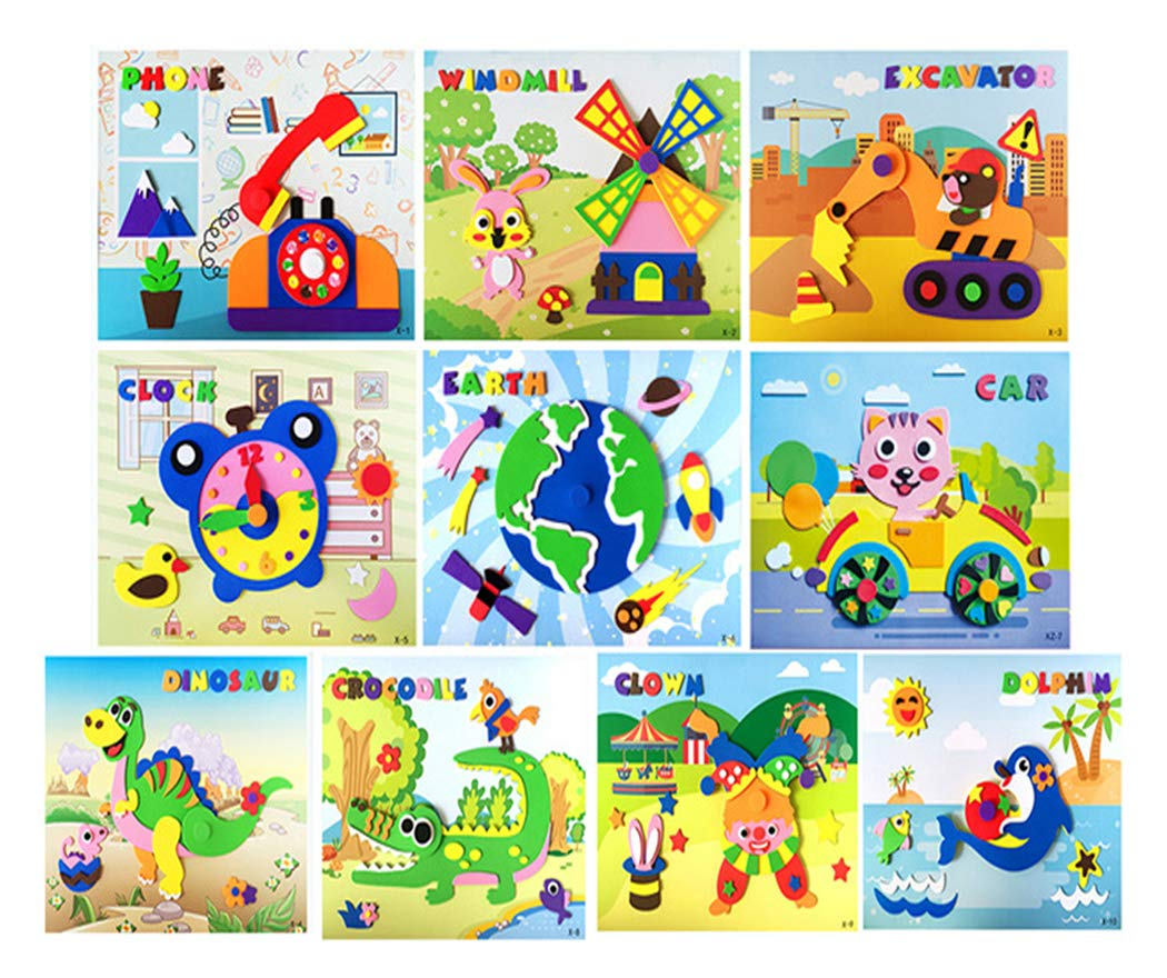 Style 1 Ds Online Hillento 10 PCS 3D Stickers Paper EVA Handmade Puzzles Activity Jigsaw EVA Adhesive Art Sticker Painting for Kids Education Toy