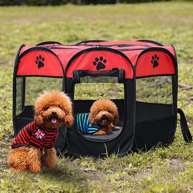Cama portable de la Carpa del perro casero Parque infantil Casa for Perros cesta plegable del perro de perrito del recinto de la jaula a prueba de agua for el perro de la perrera Casa Nido-1_73x73x43c