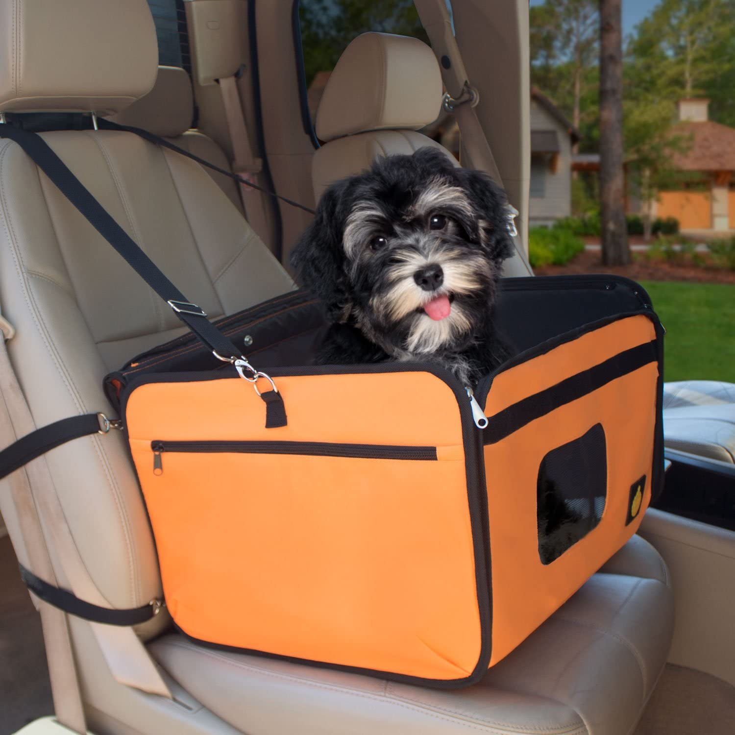 Folds and Fits in Compact Carry Bag Trucks and SUVs Pet Booster Seat 18 x 14 x 12 Inches with Shoulder Strap FrontPet Orange Dog Car Seat Fits All Cars