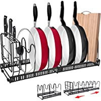 """Expandable Pan Rack Organizer with Knife Holder,G-TING 7+Adjustable Pot Lid Holders Bakeware Rack,Kitchen Cookware Pantry Cabinet Storage Rack with 7 Expandable Adjustable Dividers (Up to 23"""") (Black)"""