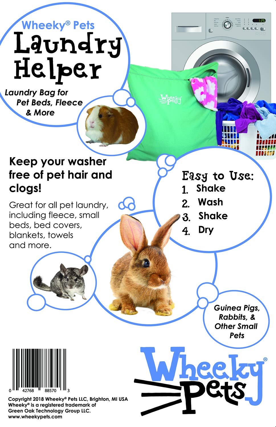 """Wheeky Pets Laundry Helper, Laundry Bag for Pet Beds, Fleece, C&C Cage Liners, Midwest Cage Liners and More, for Guinea Pigs, Rabbits and Small Pets, Green/White, Size 29"""" W x 31"""" L 2"""