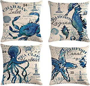 "ULOVE LOVE YOURSELF Sea Throw Pillow Covers Only Ocean Theme Seahorse-Octopus-Starfish-Crab Pattern Beach House Decorative Cushion Cover Coastal Pillowcases 18""×18"",4Pack (Ocean Theme)"