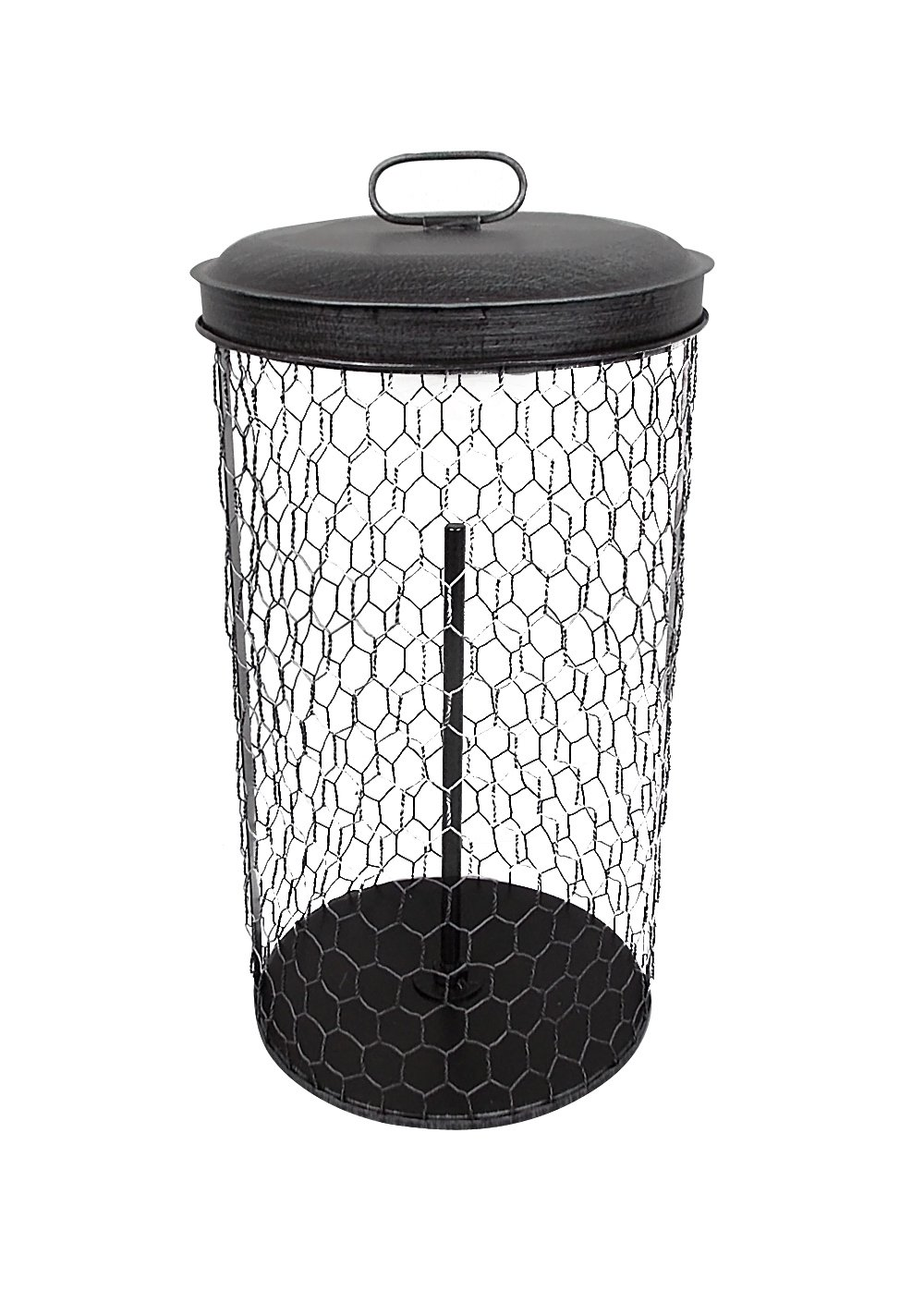 Craft Outlet Tin Paper Towel Basket with Lid, 6.5 x 13-Inch, Silver
