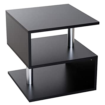 Tavolino Basso Da Salotto.Homcom Moderno Tavolino Basso Da Salotto In Legno 50 X 50 X 50cm Nero