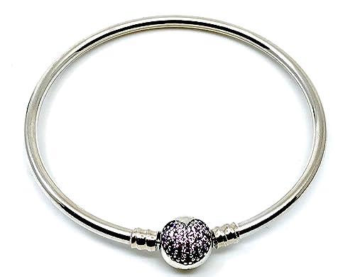 909477a9be2d Missy Jewels Pulsera de Mujer para Charms Tipo Pandora 100% Plata de Ley,  Fabricada en España, Cierre Barril con Circonitas en Forma de corazón ...