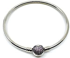 Missy Jewels Pulsera de Mujer para Charms Tipo Pandora 100% Plata de Ley, Fabricada en España, Cierre Barril con Circonitas en Forma de corazón Color púrpura (19cm): Missy Jewels: Amazon.es: Joyería