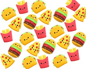 Cute Fast Food Figurines with Spiky Porcupine Wooly Hedge Body - Pizza, Burger, Taco, Fries - Small Novelty Toy Prize Assortment for Birthday Party Gifts (24)