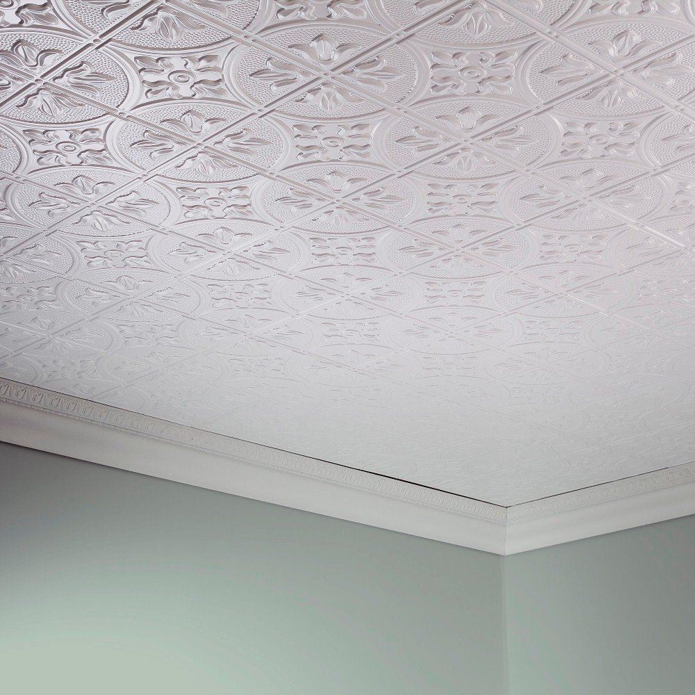 Fasade Easy Installation Traditional 2 Gloss White Glue Up Ceiling Tile/Ceiling Panel (2' x 4' Panel)