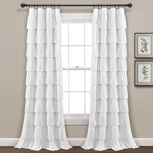 Lush Decor, White Ruffle Window Curtain-Shabby Chic Farmhouse Style Panel for Living, Dining Room, Bedroom Single , 84 x 50 L