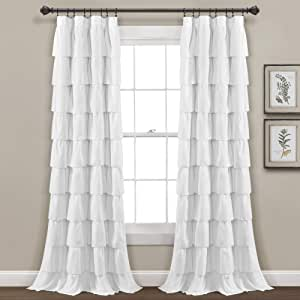 """Lush Decor, White Ruffle Window Curtain-Shabby Chic Farmhouse Style Panel for Living, Dining Room, Bedroom (Single), 84"""" x 50 L"""