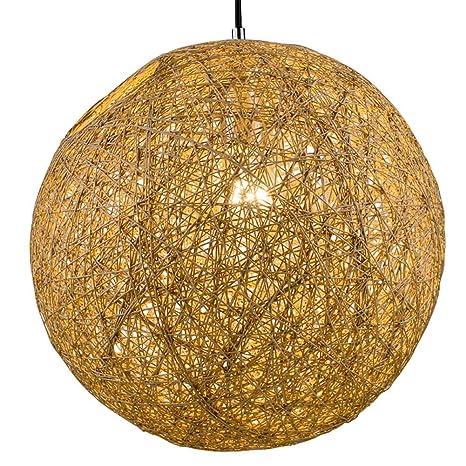 Lámparas de araña tejida a mano rota bola de cáñamo luz ...