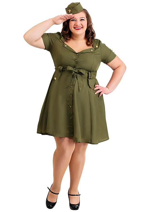 1940s Plus Size Dresses | Swing Dress, Tea Dress Plus Size Vintage Combat Cutie for Women $49.99 AT vintagedancer.com