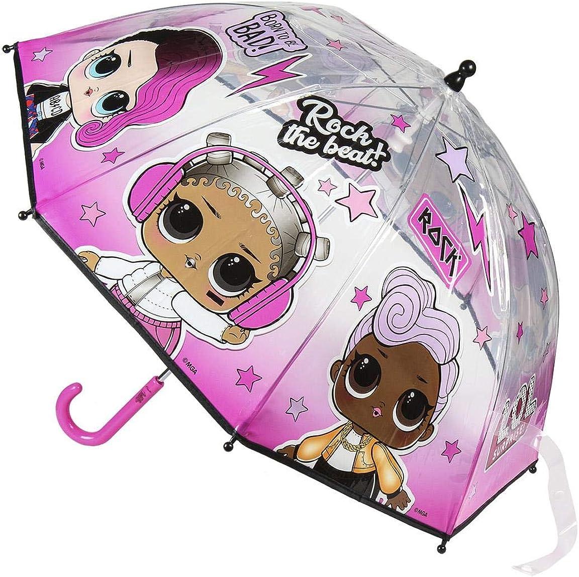 LOL Surprise Parapluie transparent enfant fille Rose Diam/ètre 90cm