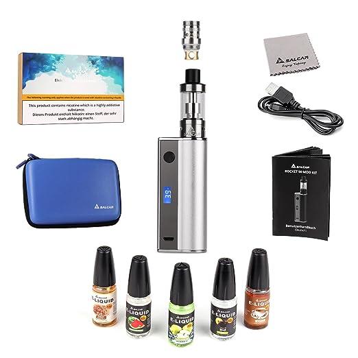Salcar® Rocket 50 Mod Kit de iniciación de Cigarrillo Electrónico 50w, Vaporizador de 0.5ohm/2ml, batería incorporada de 2200mAh, 0,00 mg Nicotina (Plata): ...