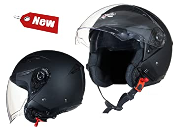 fe6e00ba Image Unavailable. Image not available for. Colour: OPEN Face Motorcycle  Helmet SCOOTER Motorbike MATT Black Twin integrated SUN Visor ...