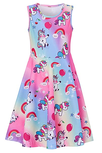 c5db92f3e104 BFUSTYLE 5t Dresses for Girls Cute Sleeveless A Line Summer Swing Dress  Balloon Star Cherry Fruit