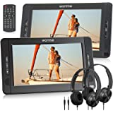 Wonnie 10.5inch Dual Portable DVD Player for Car, Headrest Kids CD Players with Two Headphones Built-in 5 Hours Rechargeable