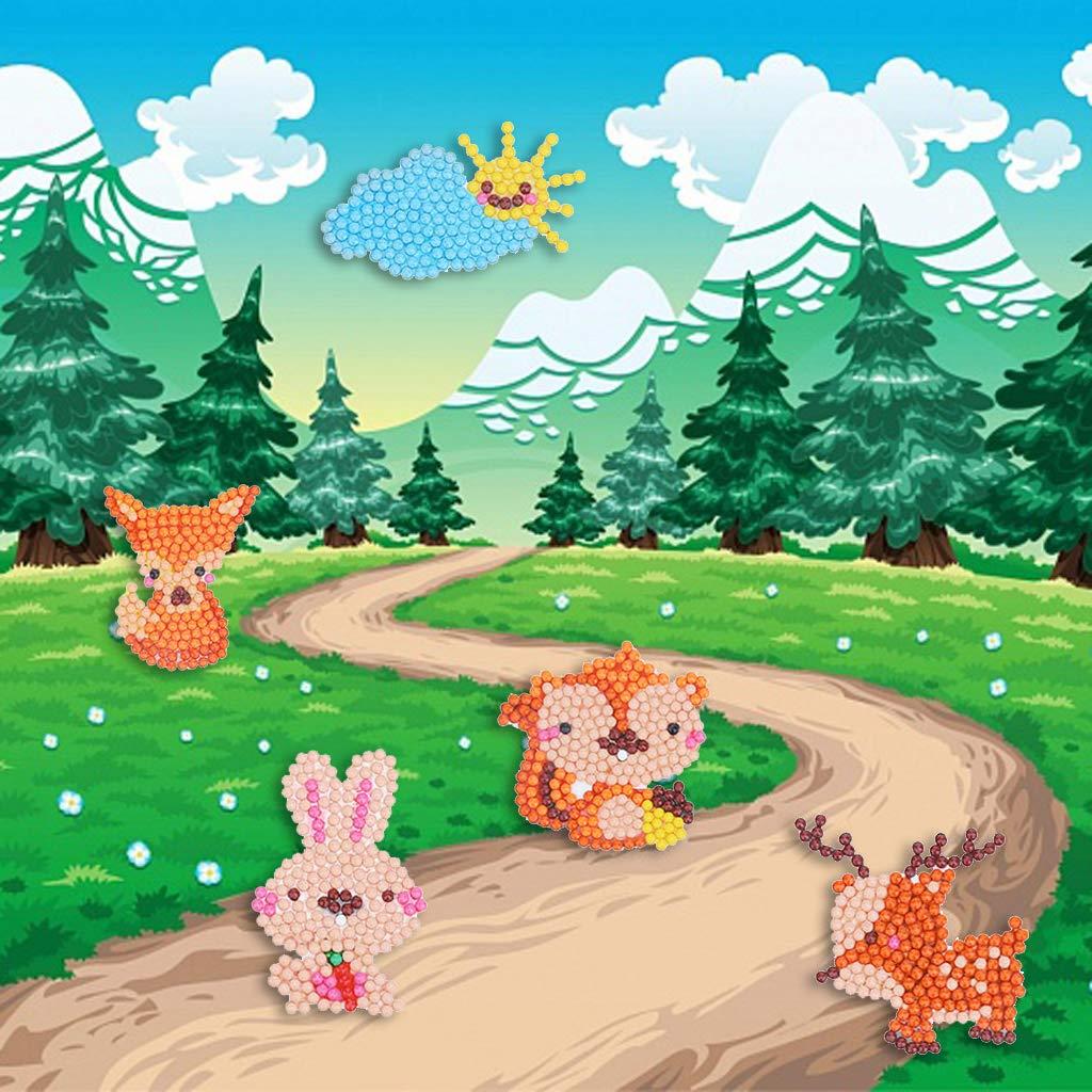Homokea 5D DIY Diamond Dotz for Kids Full Drill Diamond Painting Pictures Diamond Art Kits Jungle Animals