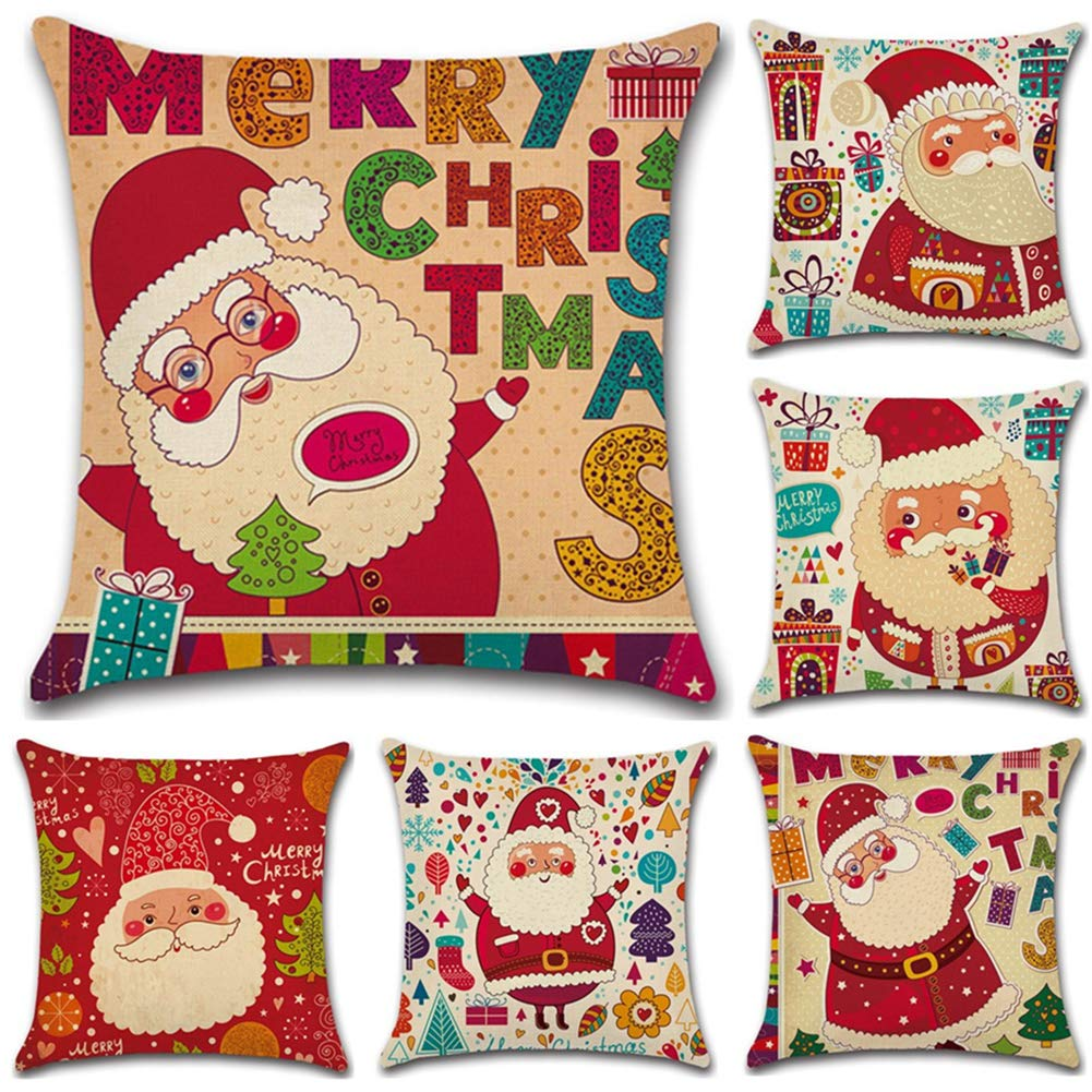 Mu/ñeco de Nieve de Navidad JOTOM Feliz Navidad Funda de Almohada para Coj/ín de Lino y Algod/ón para Sofa,Cama,Silla Cuadradas Decorativo 45 x 45 cm,Juego de 6