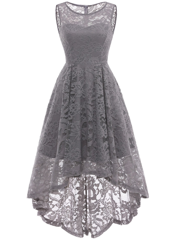 MUADRESS 6006 Women's Vintage Floral Lace Sleeveless Hi-Lo Cocktail Formal Swing Dress Grey XL