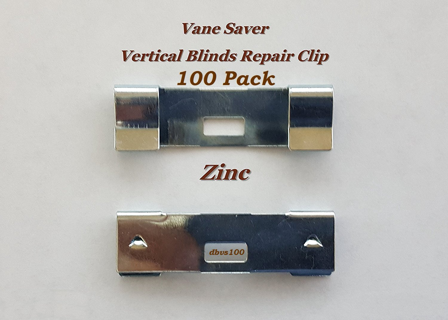 100 Pack VERTICAL BLIND Vane Saver - Zinc Curved Repair Clips - Fixes Broken Holes by dblinds1